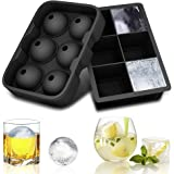 solawill Eiswürfelform Eiswürfel Silikonformen Eiswürfelbehälter Ice Ball Kugelförmige und Würfelförmige Eisformen Würfel Eiswürfel für Whiskey, Cocktail, Getränk - Schwarz (2er Pack)