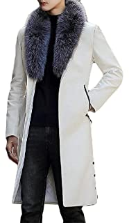 OTW Men 1 Button Mid Length Faux Leather Lapel Fall /& Winter Trench Coat Jacket Overcoat