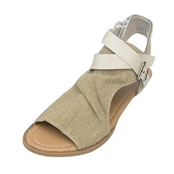 ?? Sommer mode Fisch Mund Hohl Sandalen Amlaiworld damen Hanf strand Schuhe retro Flach Stiefel elegant Coole...
