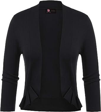 KANCY KOLE Women's 3/4 Sleeve Open Front Vintage Ruffle Shrug Cardigans  Cropped Bolero Jacket (Black, S) at Amazon Women's Clothing store