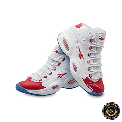 f6a6104da780b5 Allen Iverson Autographed Signed Reebok Question Mid Shoes with Red Toe -  76ers