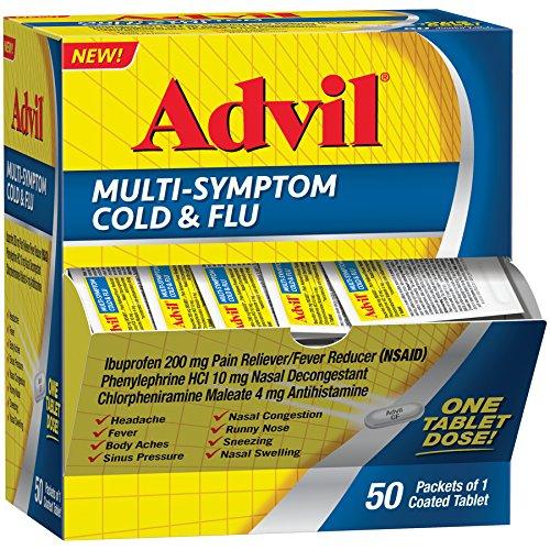 Advil Multi-Symptom Cold & Flu Coated Tablet 200 mg Ibuprofen, 50 Count
