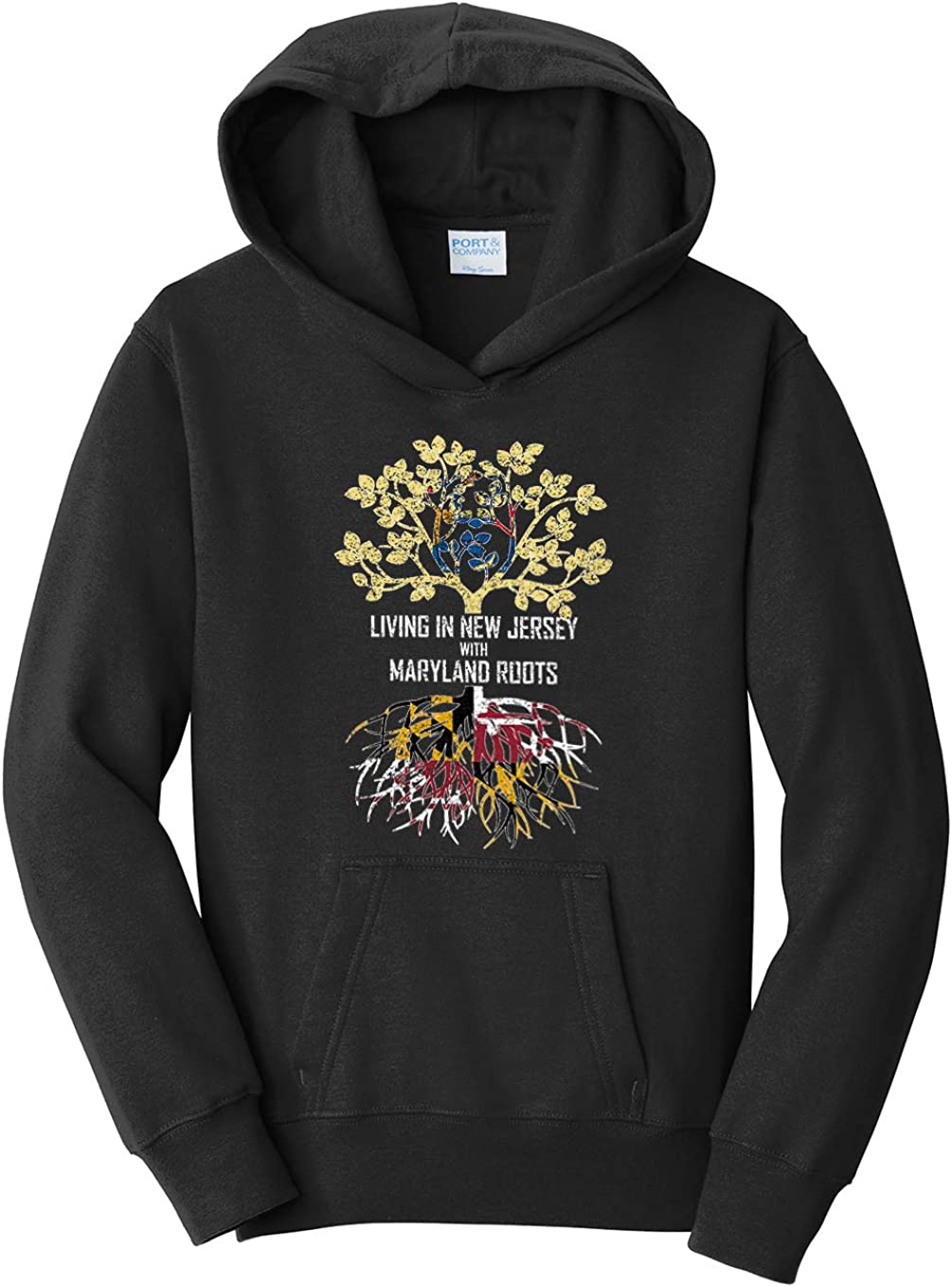Tenacitee Girls Living in New Jersey with Maryland Roots Hooded Sweatshirt
