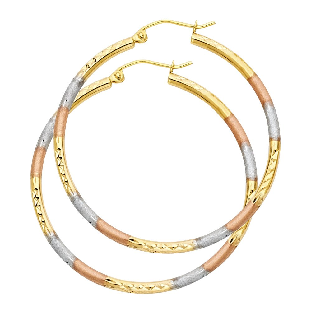 14k Tri-Color Gold 2mm Thick Round Tube Diamond-Cut Round Hoop Earrings 40mm