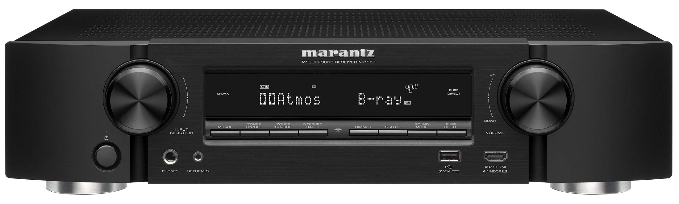 Marantz AV Audio & Video Component Receiver Black (NR1608), Works with Alexa (Renewed) by Marantz