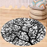 VROSELV Custom carpetApartment Decor Forest Tree Branches Modern Decor Spooky Horror Movie Themed Print for Bedroom Living Room Dorm Black and White Round 72 inches