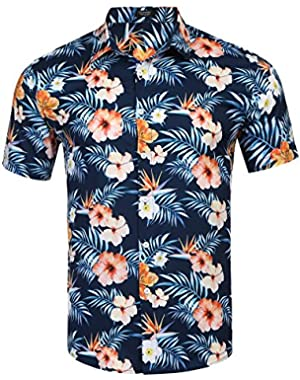 Men's Paisley Print Button Down Shirts Retro Floral Long Sleeve Dress Shirt
