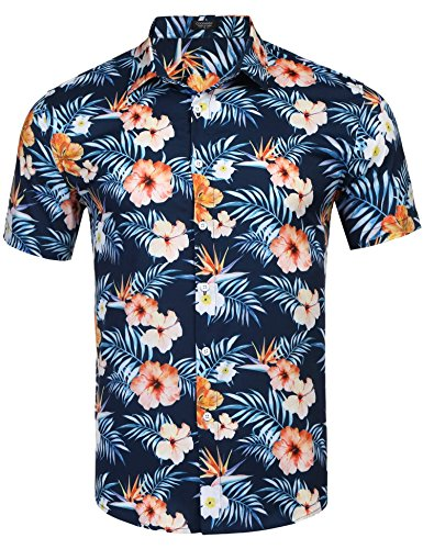 Jinidu Men's Fashion Short Sleeve Hawaiian Shirts Printed Floral Button Down Shirt 1970s Hawaiian Shirt