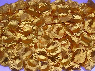 1000 PCS Fabric Silk Flower Rose Petals Wedding Party Decoration Table Confetti - Gold