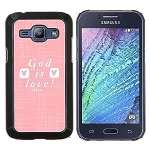 LECELL--Funda protectora / Cubierta / Piel For Samsung Galaxy J1 J100 -- dios es amor blanco cristiana Jesucristo --