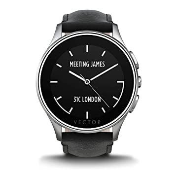 Vector Luna Montre en cuir 46 mm Noir: Amazon.fr: High-tech