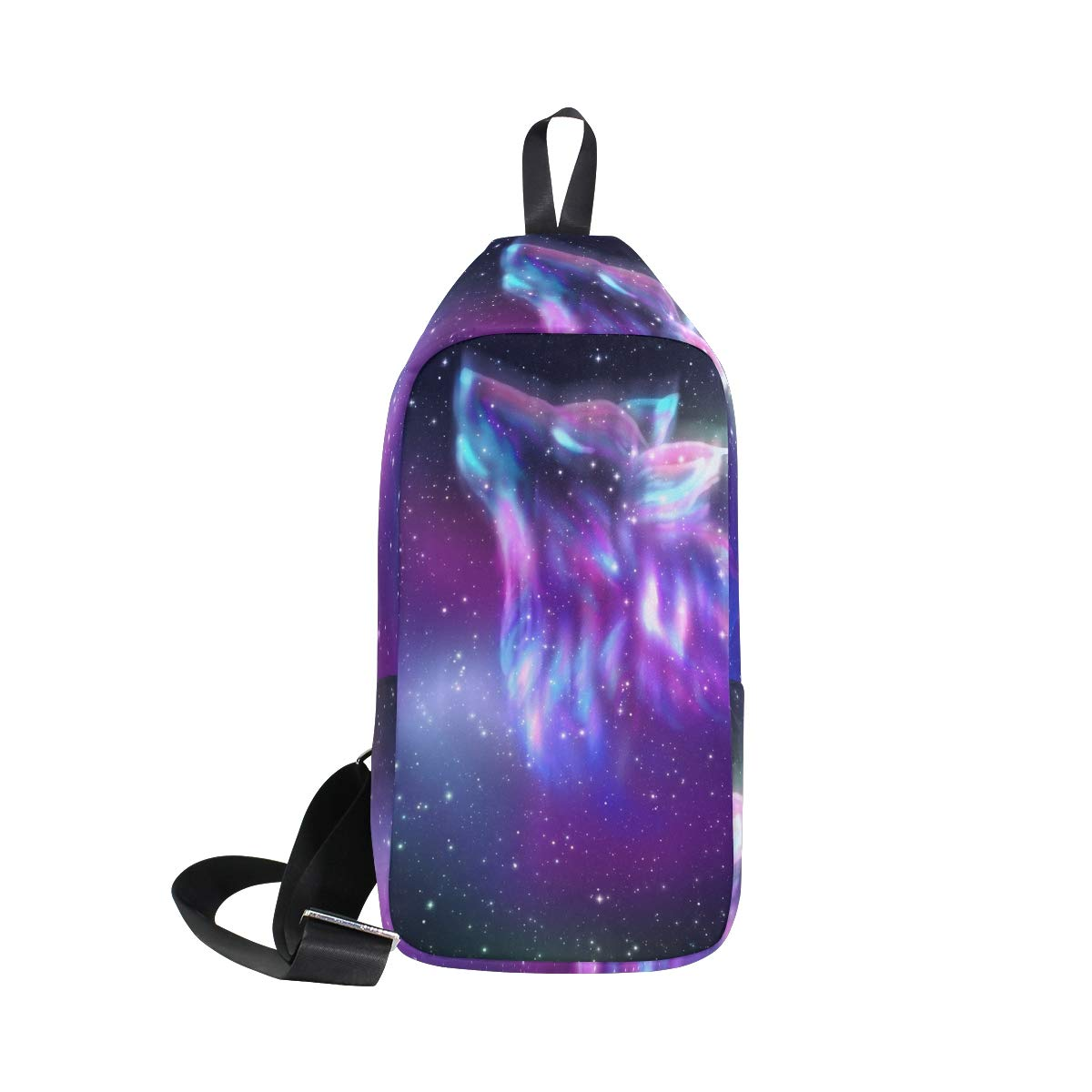 TFONE Wolf Galaxy Starry Night Crossbody Bag Lightweight Chest Shoulder Messenger Pack Backpack Sling Bag