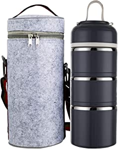 Tiffin Box, Stainless Steel Insulated Lunch Box for Hot Food Carrying Steel Container Bento Box Stackable Tiffin Lunch Box with Carrying Bag Gray (Dark Grey)