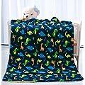 Elegant Homes Kids Soft Warm Sherpa Baby Toddler Boy Sherpa Blanket Navy Blue Dinosaurs Multicolor Printed Borrego Stroller Or Toddler Bed Blanket Plush Throw 40x50 Dinosaurs