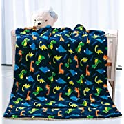 Elegant Home Kids Soft & Warm Sherpa Baby Toddler Boy Sherpa Blanket Navy Blue Dinosaurs Multicolor Printed Borrego Stroller or Toddler Bed Blanket Plush Throw 40X50 # Dinosaurs