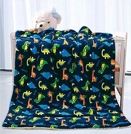 fd55a2bfea Elegant Home Kids Soft   Warm Sherpa Baby Toddler Boy Sherpa Blanket Navy  Blue Dinosaurs Multicolor