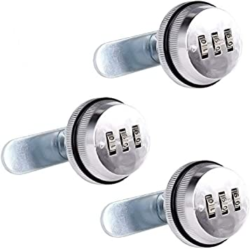 Black 3 Pack Combination Cam Lock 7//8 Tongue Lock Safety Lock Bright Chromium Zinc Alloy Combination Lock Cabinet