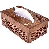 UniqueKrafts Handmade Wooden Tissue Box Napkin Holder Cover Velvet Interior (Hardwood)