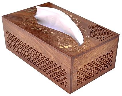 Dispensador rectangular de la cubierta de la caja del tejido de madera con incrustaciones de latón