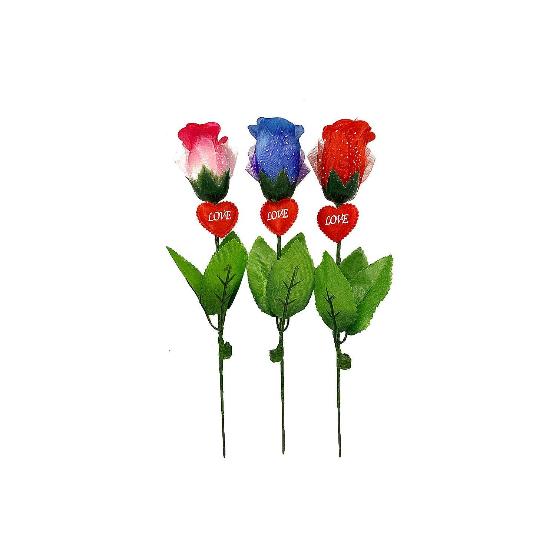 ロマンチックに点滅するリアルなLEDライトローズ 3パック 環境に優しい、永遠にキープ、ガールフレンド、奥様、お母様、お友達への素晴らしい贈り物として長持ち、結婚式、バレンタインデー、母の日 B07MZZ68BK