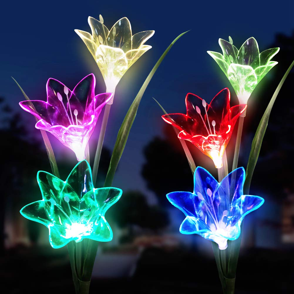 Solar Lights Outdoor Decorative, Solar Lily Lights Outdoor LED Multi-Color Landscape Lights Dusk to Dawn Auto On/Off for Courtyard Backyard Decorative Lights 2 Pack