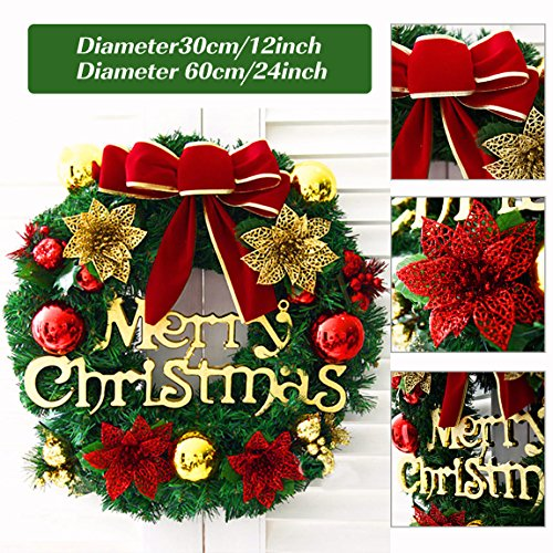 Besteamer Christmas Decoration Wreath Felt Applique Wall Hanging Wreath Kit for Christmas Party Home Door Wall Decoration 45 cm