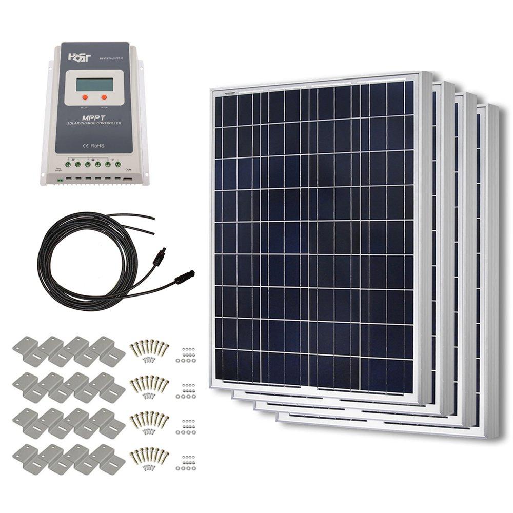 HQST 400 Watt 12 Volt Polycrystalline Solar Panel Kit with 40A MPPT Charge Controller