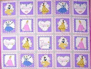 Amazon.com: Princess 20 Quilt Blocks Cotton Fabric Panel ... : disney princess quilt - Adamdwight.com