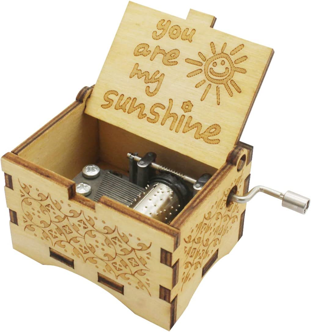 UNIQLED You are My Sunshine Wooden Music Boxes Laser Engraved Hand Crank Classical Wood Sunshine Musical Box Gifts for Birthday Christmas Valentine's Day