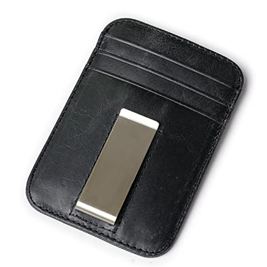78c26eec643e Image Unavailable. Image not available for. Color: Unisex Leather RFID  Blocking Card Holder Money Clip Wallet ...