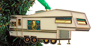 Camper Christmas Tree Ornament Holiday Decoration Fifth Wheel Camping Decor, 6 inch