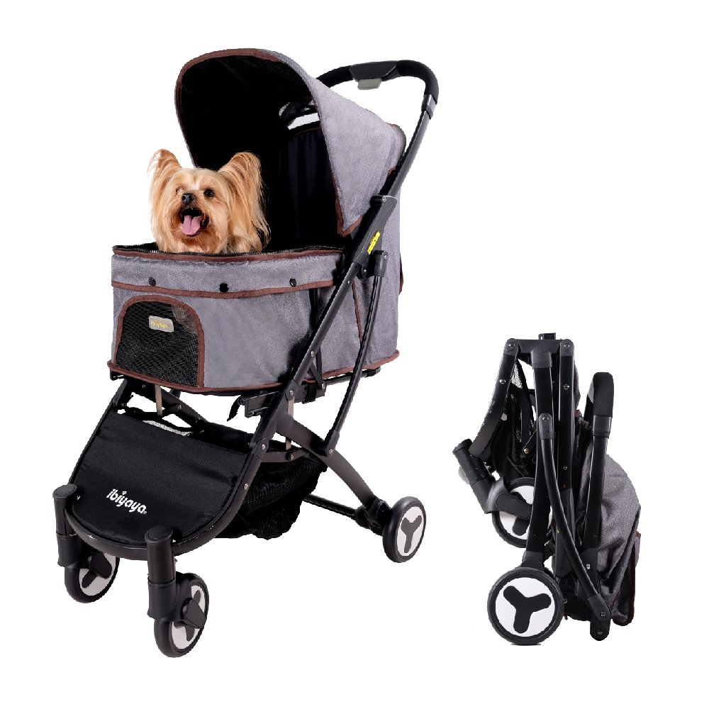 Light Weight Dog Stroller for Medium Dogs and Cats | Smart Design Folds Down to a Large Hand Bag Size | Folding Puppy & Kitten Carrier Perfect for Pet Travel by ibiyaya by ibiyaya