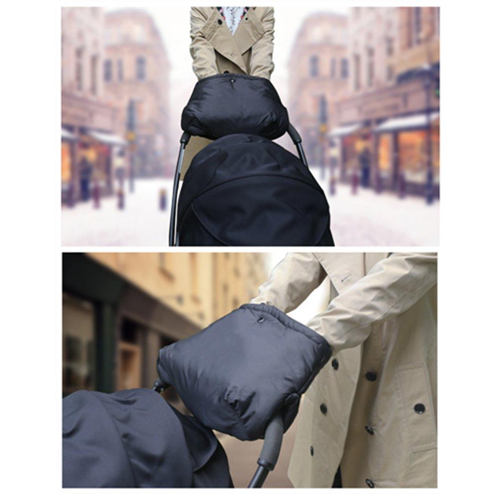 Antigel Gants Prot/ège Mains Chauds Noir Imperm/éable et Coupe-vent Poussette Gants Hiver