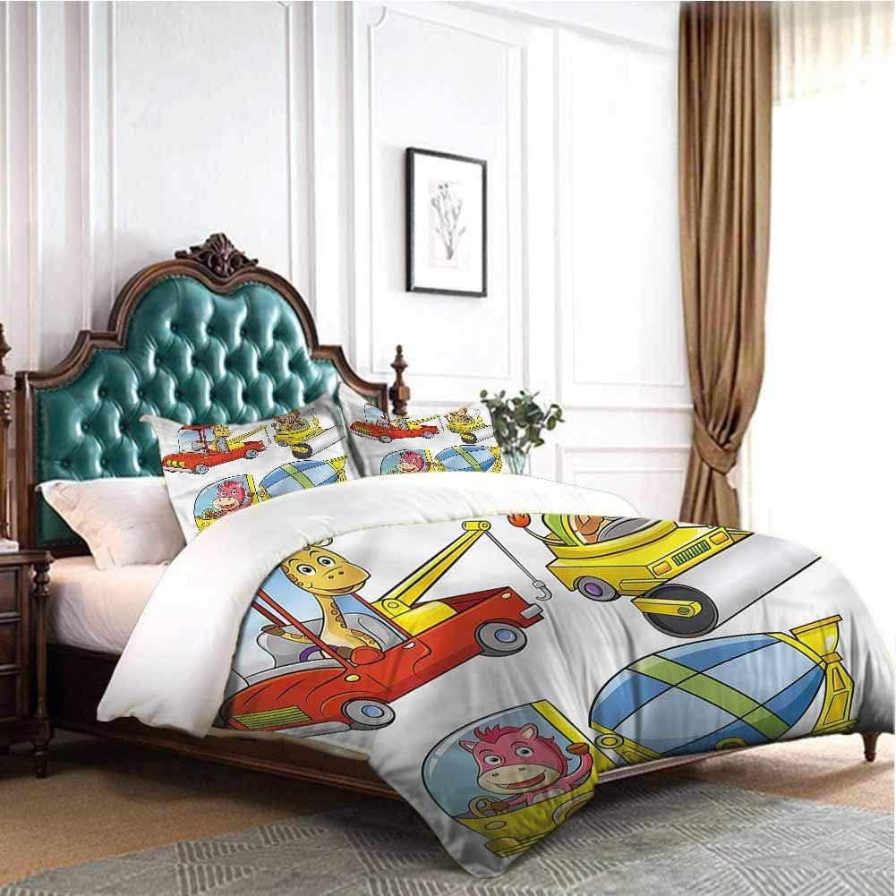 Jktown Boys Room 3 Pieces Ultra Soft Zipper Closure Bedding Set Construction Vehicles 1 Duvet Cover 2 Pillowcases Twin