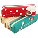 iSuperb® Pencil Case 4PCS Differently-colored Cute Cartoon Pouches Canvas Stationary Bag Pouch for Students Girls (4 PCS Cartoon Pencil Case)