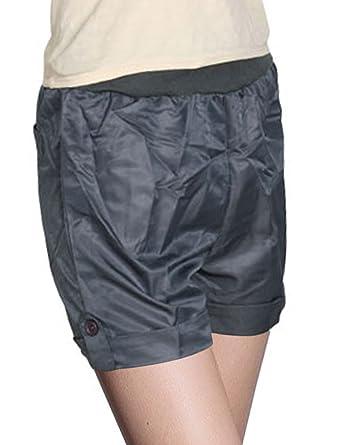 ff955a7a9d sourcing map Taille élastique Femme Fausse Poche arrière Short pour Femme  Gris foncé Taille XS -