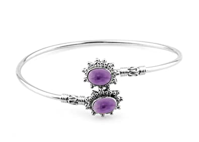 14.13gms,2.15ctw Genuine Gemstone & Solid .925 Sterling Silver Cuff Bangle Jewellery