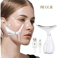 Ultraschall Gesichtsgerät, Gesicht Schönheitsgerät mit Heiß-Kalt Galvanischer strom Kopf, ION Mikro-Strom Radio Frequenz Kosmetisches Gerät für Gesichtsbehandlung, USB aufladbar, 3 Modi