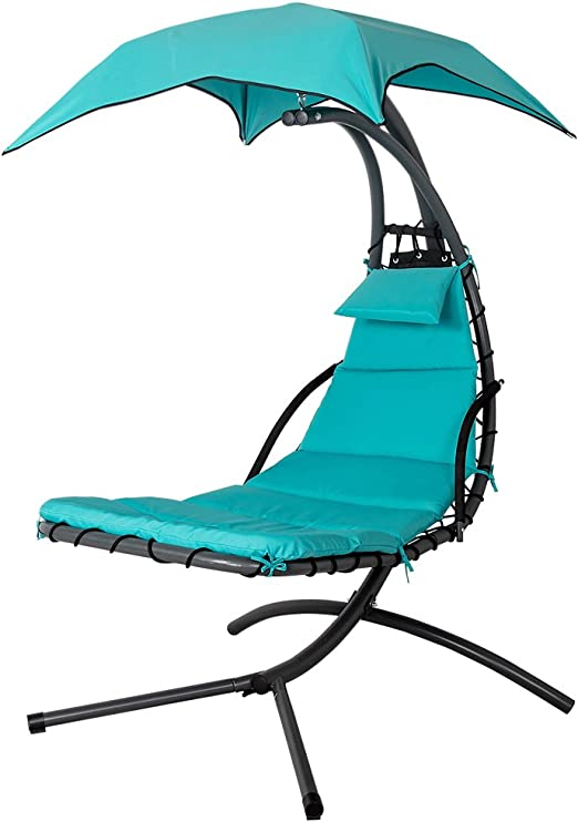 Amazon Com Lazy Daze Hammocks Dream Chair With Umbrella Hanging Chaise Lounge Chair Arc Curved Hammock Lake Blue Kitchen Dining
