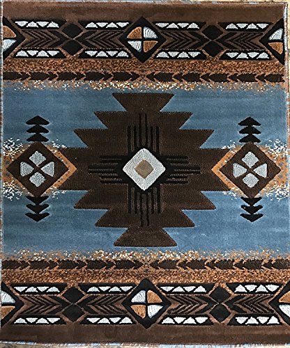 (Southwest Native American Tribal Area Rug Blue & Brown Design C318 (5 Feet 2 Inch X7 Feet ))