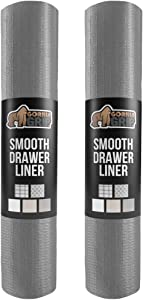 Gorilla Grip Original Smooth Top Slip-Resistant Drawer and Shelf Liner, 2 Pack, Non Adhesive Rolls, 12 Inch x 20 FT, Durable Kitchen Cabinet Shelves Liners for Kitchens Drawers and Desks, Gray