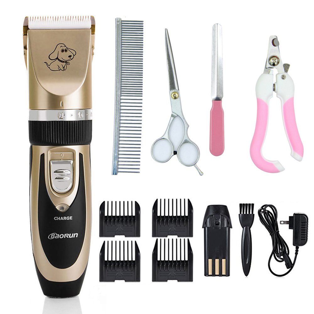 Pet Grooming Kit, Ablevel Rechargeable Cordless Dogs and Cats Grooming Clippers - Professional Pet Hair Clippers with Comb Guides for Dogs Cats and Other House Animals