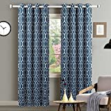 CAROMIO Blackout Window Curtains for Bedroom, Lattice Moroccan Print Energy Efficient Room Darkening Thermal Insulated Window Treatment Curtain Drapes with Tiebacks – 52 x 84 Inches, Blue (2 Panels) For Sale