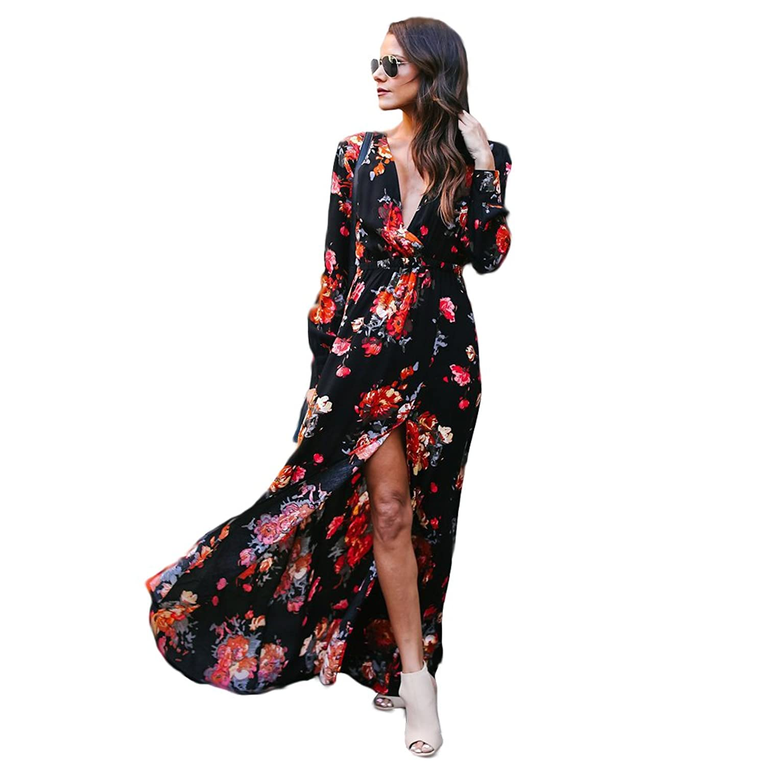 2305476b79ae Pull On closure. FEATURES:Bohemia flower printed ,sexy front slit , Elastic  empire hight waist ,long sleeve , with linings .very swing and flatter dress .