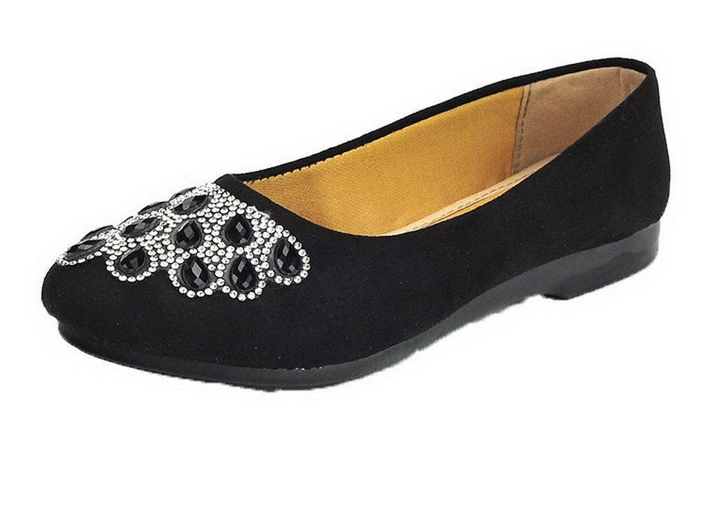 AgooLar Damen Rund Zehe Ziehen auf Rein Low-Heels Pumps Schuhe  39 EU Schwarz