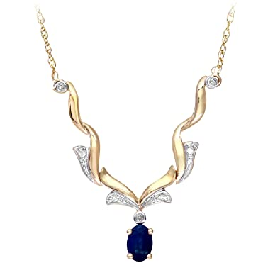 Naava Women's Diamond and Sapphire 9 ct Yellow Gold Necklace of Length 47 cm WyLYbUCfk6