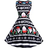 Qootent Women Christmas Vintage Print Pendulum Dress Lady Sleeveless Xmas Dress
