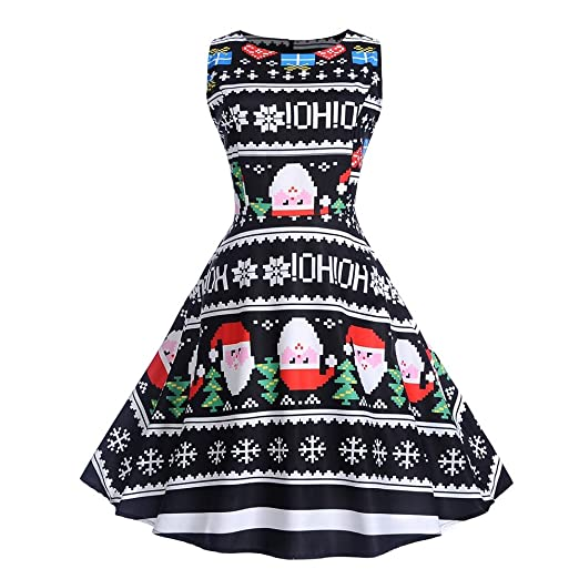 makulas womens sleeveless womens christmas print dress christmas party prom swing midi dress