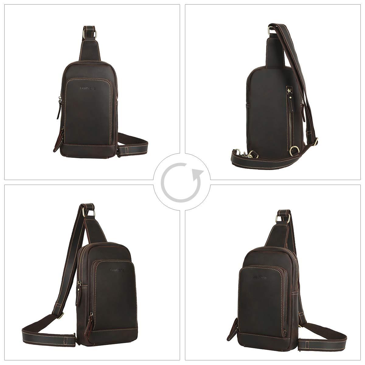Leathario crossbody väska män äkta läder axelremsväska bröstväska vintage multifunktionell stöldsäker affärer vardaglig utomhus resor Dark Brown71