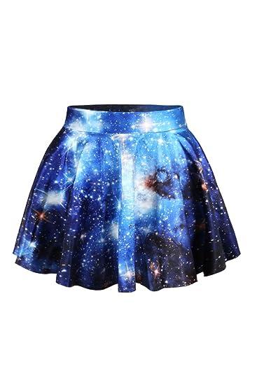 Cfanny Mujer Galaxy impresión Falda Plisada Falda Talla única ...